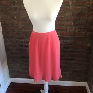 Madewell Coral Pink Midi Pleated Skirt - Size 2